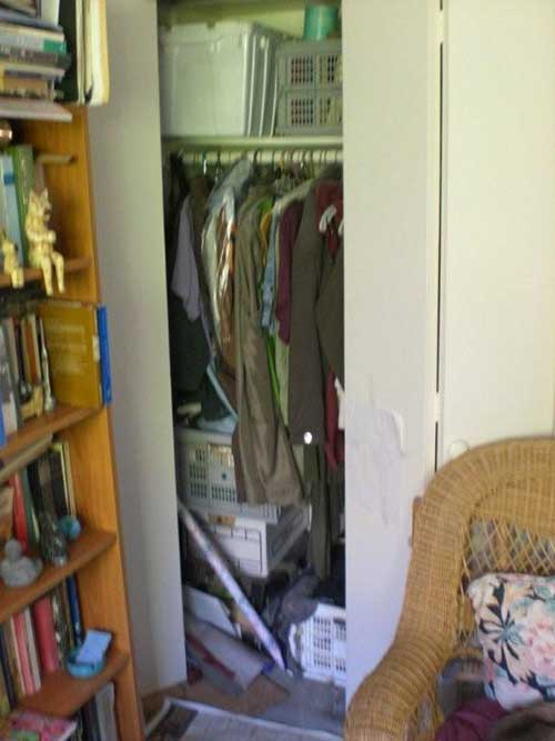 Closet converted to office BEFORE picture