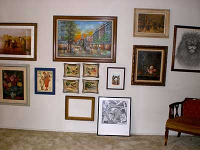 Estate Sale - paintings on display