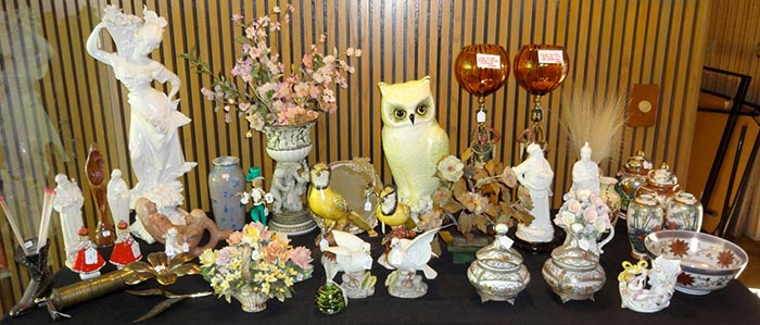 Estate Sale decorative items on display