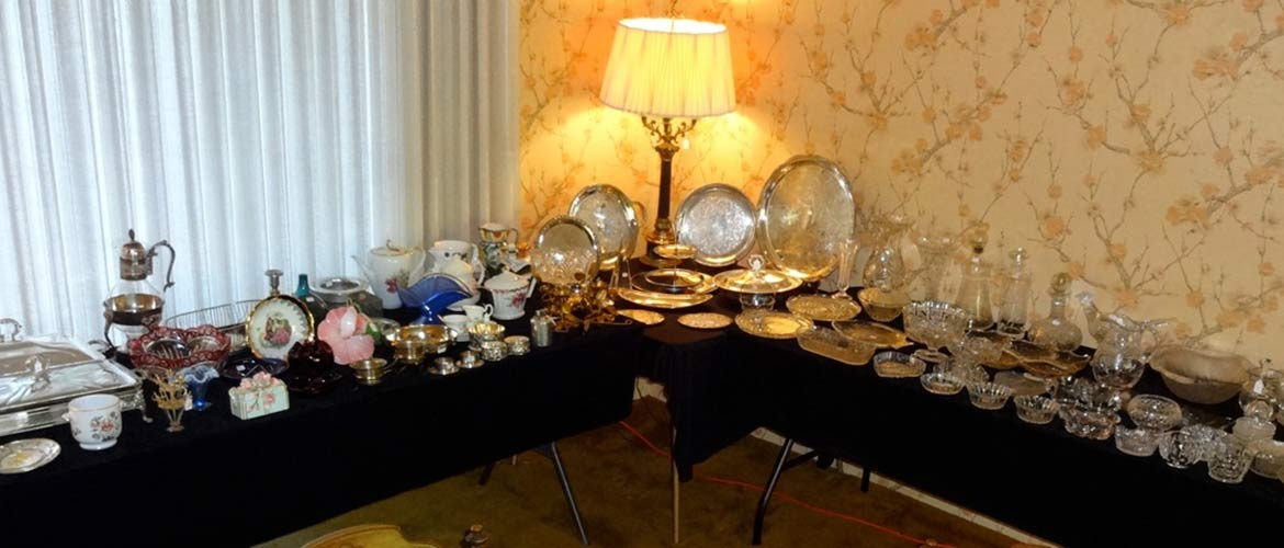 long table with serving pieces and decor for sale