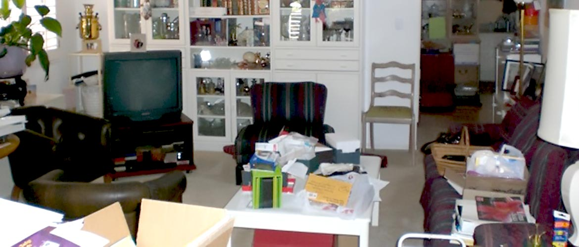 a cluttered living room