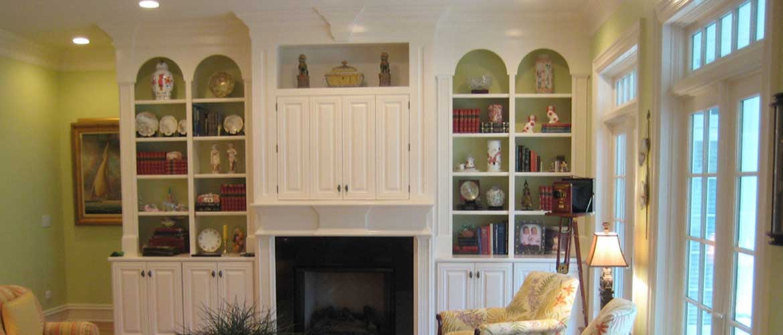 organized shelves in a living room