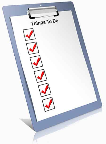 'Things to Do' checklist on a clipboard