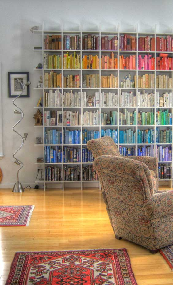 colorful books on shelves
